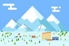 Mountain village hotel ski resort holidays bus Stock Photography
