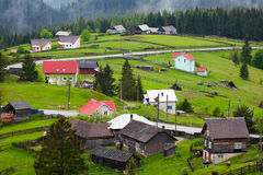 Mountain village. Houses placed on a hill Stock Photo