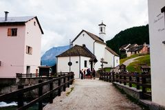 Mountain village huts, Alpe Devero, Italy. Mountain huts, Alpe Devero, Italy Royalty Free Stock Photo
