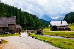 Mountain village huts, Alpe Devero, Italy. Mountain huts, Alpe Devero, Italy Royalty Free Stock Photos