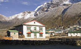 The mountain village of khumjung everest region Stock Photo