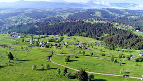 Mountain village landscape in Carpatian stock video footage