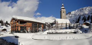 The mountain village of lech voralberg Stock Photo