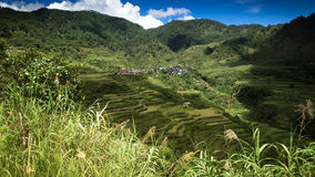 Mountain Village and Maligcong Rice Terraces From Trail. Tiny village tucked away on a hillside in the Philippine mountain province Royalty Free Stock Photography