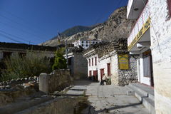 Mountain village Marpha on the Annapurna Circuit Trek in the Himalayas, Nepal Stock Photos
