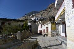 Mountain village Marpha on the Annapurna Circuit Trek in the Himalayas, Nepal Stock Photos