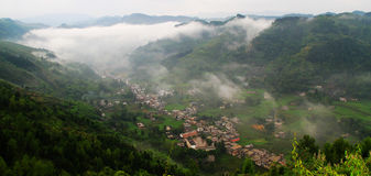 Mountain village,morning mist Royalty Free Stock Images