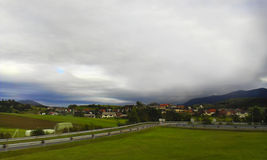 Mountain village. The village in the mountains of Slovenia Stock Photos
