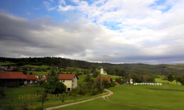 Mountain village. The village in the mountains of Slovenia Stock Photo