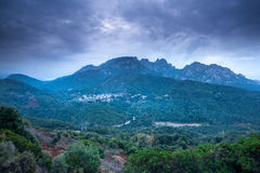 Mountain village of Murzo in the clouds Corsica Stock Photos