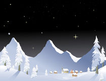 Mountain village night Stock Images