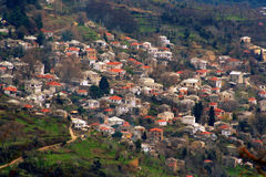 Mountain village overview. This beautiful village resides in the hills of mountain pelion, greece Stock Photo