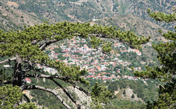Mountain Village of Pedoulas, Cyprus. Famous picturesque Mountain Village resort of Pedoulas in Nicosia district  at Troodos mountains in  Cyprus Royalty Free Stock Images