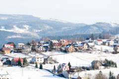 Mountain village in Poland. Koniakow - village in Beskidy mountains, Poland. This is the highest elevated village in Poland, 700m above the sea level Stock Photos