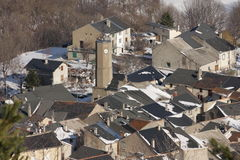 Mountain village in Pyrenees. Mountain village of  Le Bousquet in  Pyrenees ,Aude, Occitanie in south of France Stock Image