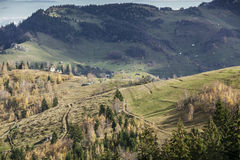 Mountain village roads. Land-view of Magura, Zarnesti village Stock Image