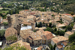Mountain Village roof tops, Moistiers Sainte Marie, Verdon, France Royalty Free Stock Images