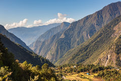 Mountain village in Sagarmatha national park. Stock Images