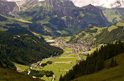 Mountain village. Scenic overlook of a village in the Swiss Alps Stock Photos