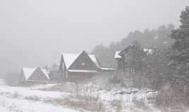 Mountain village in snow in winter. The photo was taken in North Ossetia, in the Digor gorge Royalty Free Stock Photos