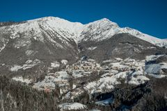 Mountain village. The mountain village after snowfall Royalty Free Stock Photography