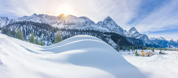 Mountain village and snowy Alps Royalty Free Stock Image