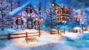 Mountain village at snowy winter night watercolor. Cozy snowbound alpine village high in mountains with half-timbered rural houses and christmas lights at snowy royalty free stock photography