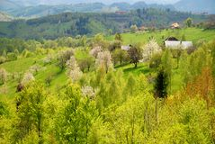Mountain village on spring Royalty Free Stock Photos
