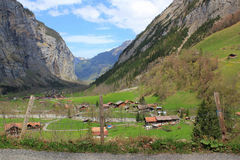 Mountain village Stechelberg in Switzerland. View at the small beautiful village Stechelberg in the Lauterbrunnen valley in Berner Oberland in Switzerland Royalty Free Stock Photo