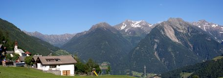 Mountain village Stuls and Sarntal Alps Royalty Free Stock Photography