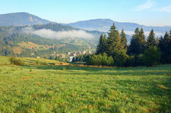 Mountain village (summer countryside landscape) Stock Images