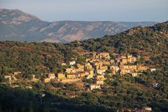 Mountain village at sunrise, Corse, France. stock photos