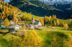 Mountain Village at Sunset Stock Photography