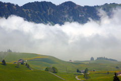 Mountain village in Swiss alps Royalty Free Stock Photography