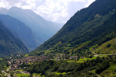 Mountain village in swiss Alps Stock Photography