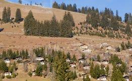 Mountain village on Swiss Alps Royalty Free Stock Photo