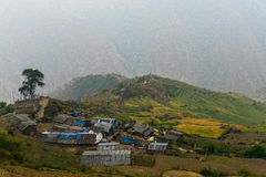 Mountain village and terraced fields Royalty Free Stock Photography