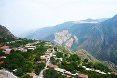 Mountain village view from altitude Royalty Free Stock Image