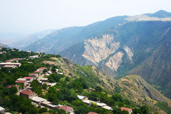 Mountain village view from altitude Stock Images