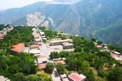 Mountain village view from altitude. Mountain village Halidzor view from altitude in Armenia Royalty Free Stock Images
