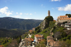 Mountain village. View of Arachova village in Greece under the blue sky Royalty Free Stock Images