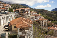 Mountain village. View of Arachova village in Greece under the blue sky Stock Photos