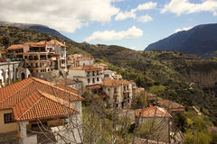 Mountain village. View of Arachova village in Greece under the blue sky Stock Image