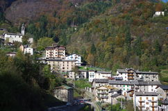 Mountain village. View of a mountain village in Autumn. Italy Royalty Free Stock Photos