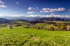 Mountain village. View of mountain village in the heart of Europe, Povraznik (Slovakia Stock Photo