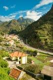 Mountain village view 2. Serra De Agua, Madeira, Portugal. View to the village under the mountains royalty free stock photo