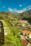 Mountain village view. Serra De Agua, Madeira, Portugal. View to the village under the mountains stock photography