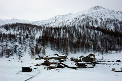 Mountain village winter Royalty Free Stock Image