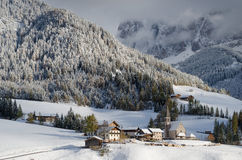 Mountain village in winter royalty free stock photos