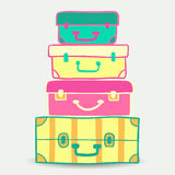 Mountain vintage suitcases. Travel Bags Colored. Collection of t Royalty Free Stock Images